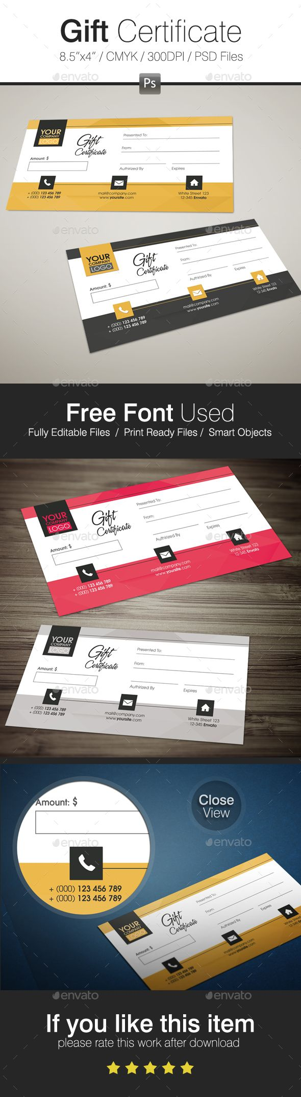 Gift Certificate - Loyalty Cards Cards & Invites #design Download: https://graphicriver.net/item/gift-certificate/17377924