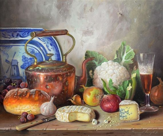 Artwork by Raymond Campbell, Still life of table setting with copper kettle, Made of oil on board