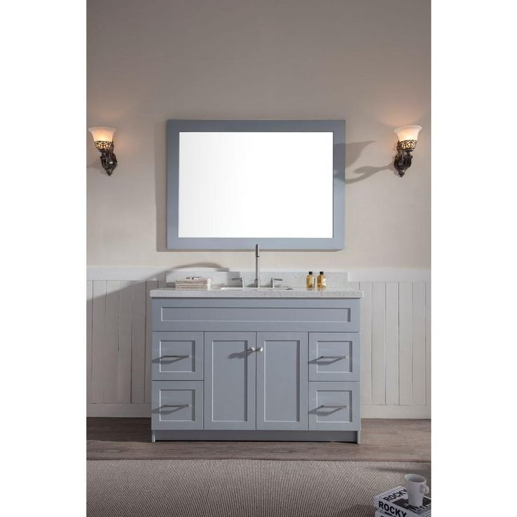 Ariel Hamlet 49 in. Vanity in Grey with Quartz Vanity Top in White with White Basin and Mirror