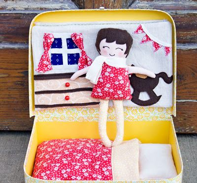 Doll's Bedroom in a Suitcase