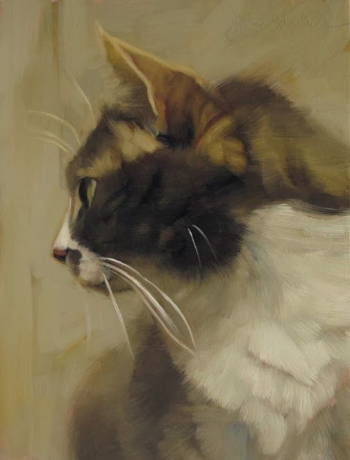 """""""Profiled"""" painting by Diane Hoeptner, oil on wood, 8"""" x 6,"""" #cat #oil-painting #painting #cat-painting"""