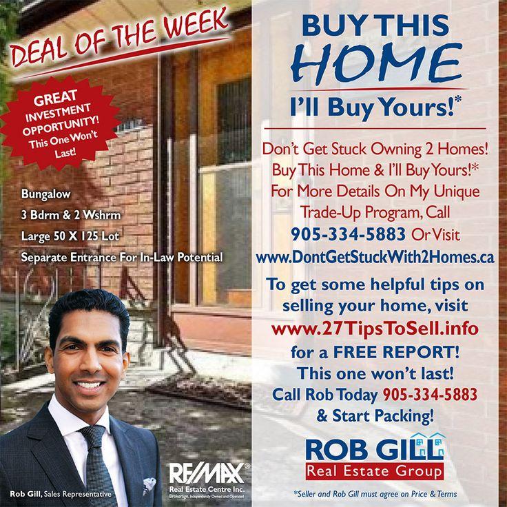 #dealoftheweek #homes #buy #sell #realestate #remax #robgill #robgillrealestate #robgillrealestategroup #peel #halton #square1 #Mississauga