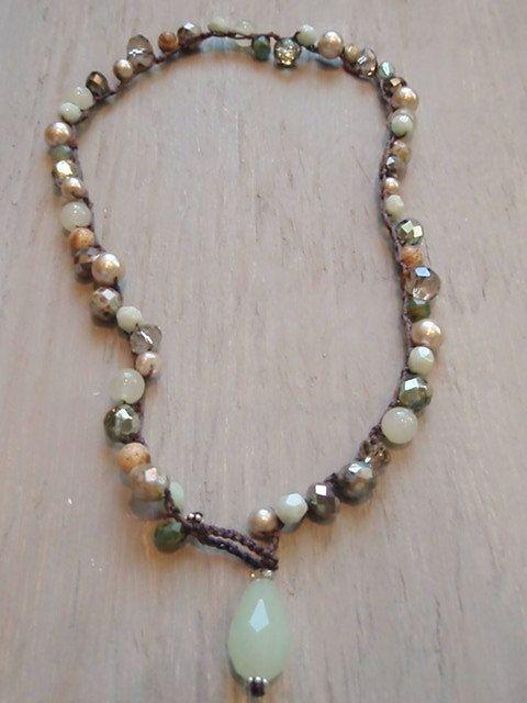 Mint green bohemian necklace Garden Willow celadon by slashKnots