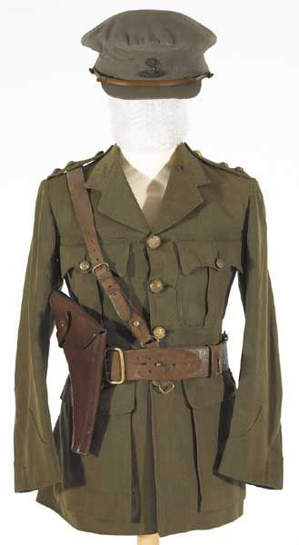 1918 Royal Dublin Fusiliers officers' uniform including tunic, cap and belt