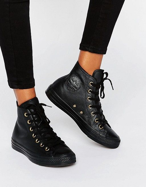 Converse Black Faux Shearling Lined Leather Chuck Taylor Hi Top Trainers