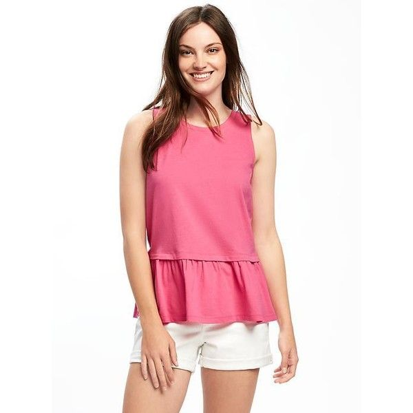 Old Navy Womens Relaxed Peplum Hem Tank ($17) ❤ liked on Polyvore featuring tops, pink, old navy tank tops, sleeveless tank tops, sleeveless jersey, peplum tank top and sleeveless peplum top