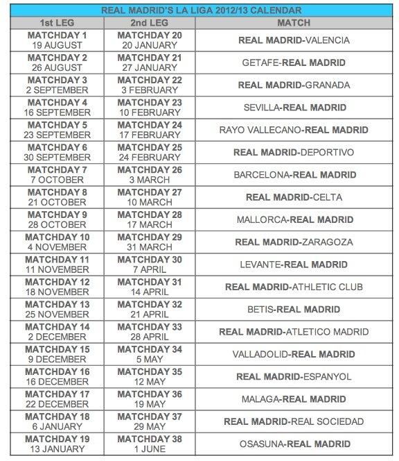 Calendario de La Liga española....Gracias Real Madrid en Facebook