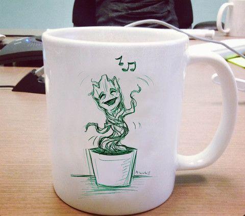 I am baby groot singing Ceramic Mug #mug #ceramicmug #ceramic #coffemug #teamug #cup #funnymug