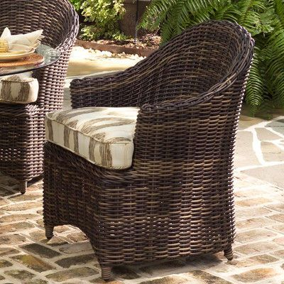 Woodard Sonoma Patio Dining Chair with Cushion Fabric: Brisa Distressed Charcoal