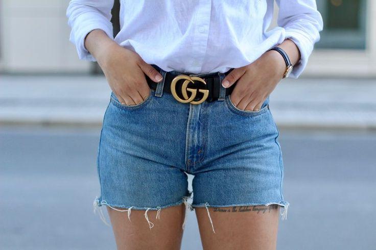 Gucci belt, Levis shorts