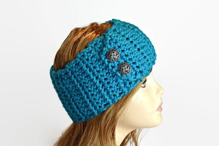 Womans Headband, Wide, Button, Chunky, Neck Warmer, Crochet, Teen Girl, Ladies Headband, Ear Warmer, Winter Headband by DeesCozyCreations on Etsy