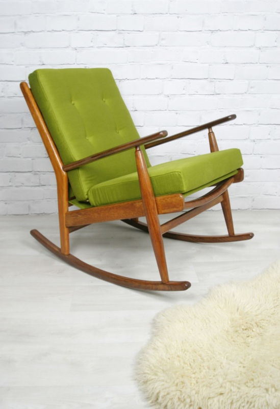 Retro Vintage Scandart Danish Midcentury Teak Rocking Nursing Chair 50s 60s Apartment Living Pinterest And Furniture