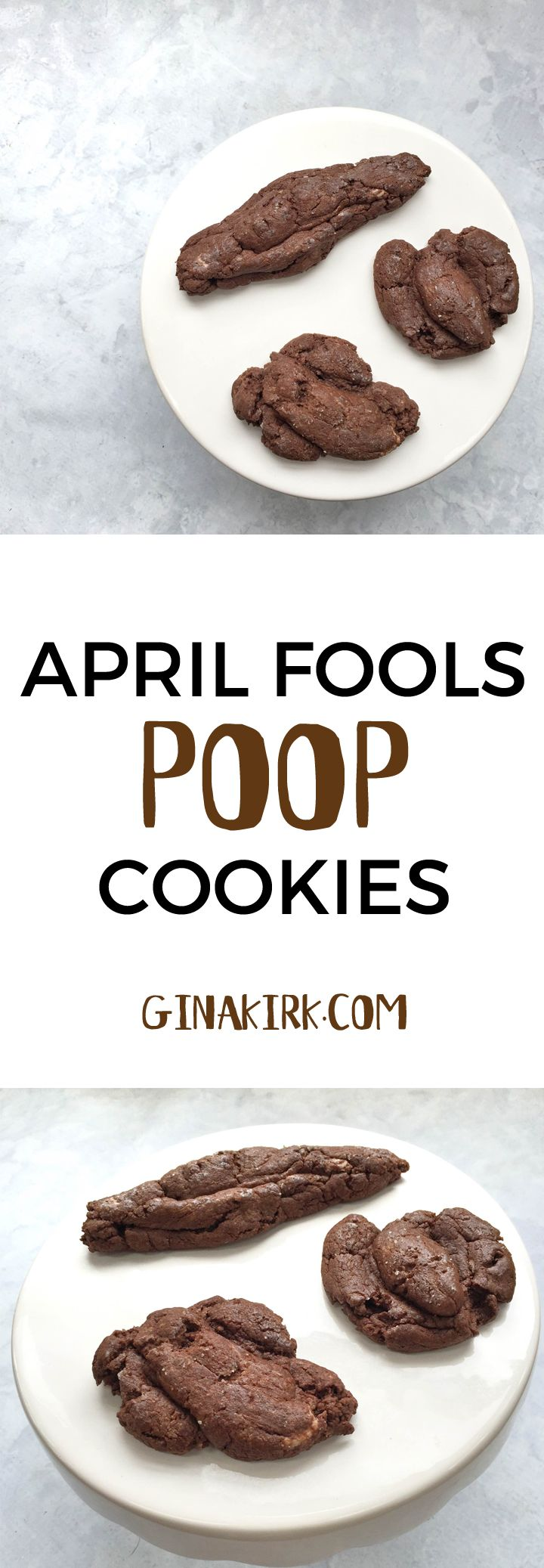 April fools' day poop cookies | poop cookie recipe | food pranks | April fools' day recipes | April fools' day pranks for kids GinaKirk.com @ginaekirk