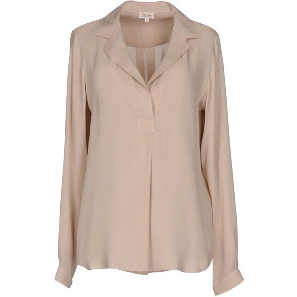 Her Shirt Blouse ($208) ❤ liked on Polyvore featuring tops, blouses, beige, long sleeve tops, silk blouse, long sleeve collar shirt, beige long sleeve shirt and long sleeve blouse