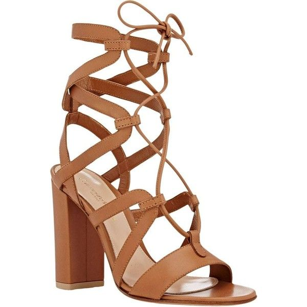 Gianvito Rossi Women's Lace-Up Gladiator Sandals ($499) ❤ liked on Polyvore featuring shoes, sandals, gladiator sandals, strappy leather sandals, leather lace up sandals, lace-up gladiator sandals and roman sandals