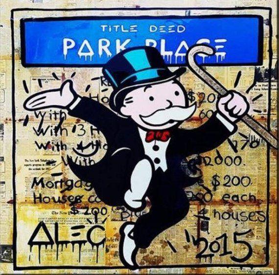 Alec Monopoly Banksy Oil Painting On Canvas Street Art 21 Park