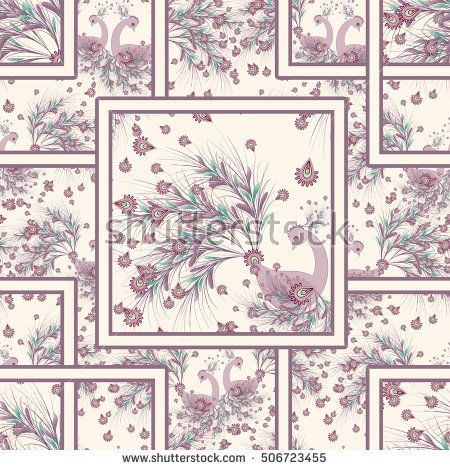 Seamless floral pattern background, fabulous birds,ornament wallpaper textile Illustration. fabulous birds on beige background.