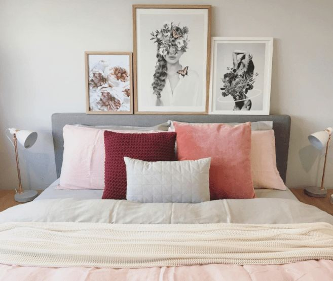By Sapphire Living Interiors // pink pillows // wall decor