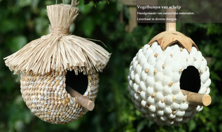 Vogelhuisjes gemaakt van schelpen