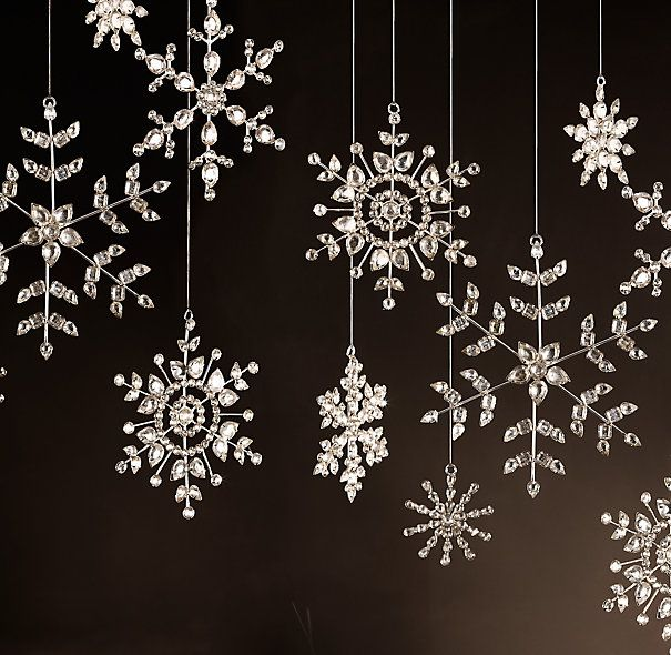 I'd love to have an entire Christmas tree decorated in these glass snowflakes