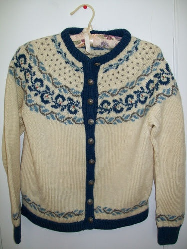 Foldal Vintage Hand Knit Norwegian Wool Cardigan Sweater  Handknit Norway | eBay