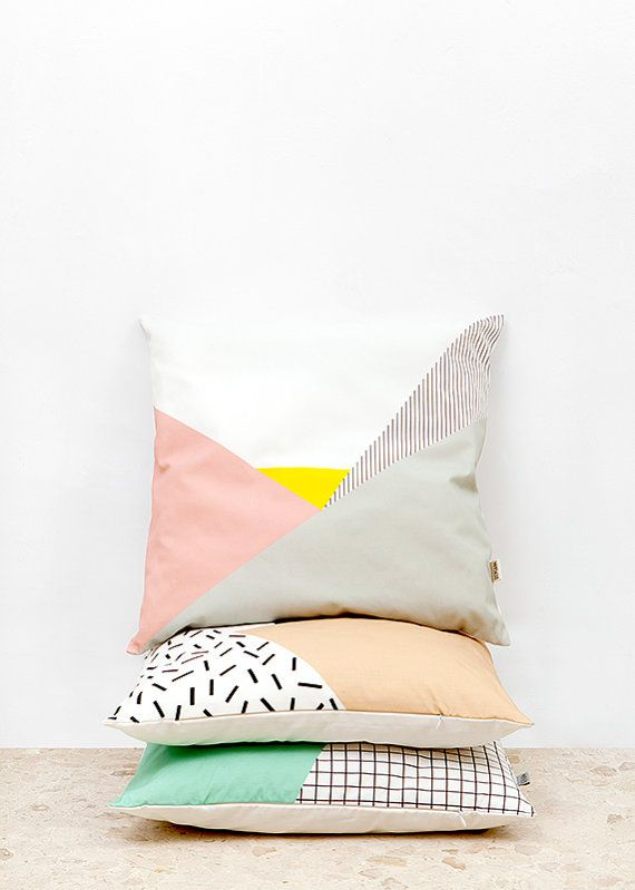 Memphis 1 Cushion Cover organic cotton twill by depeapa on Etsy