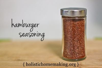 Hamburger Seasoning {McCormick Grillmates}  What You Need  1/4 tsp chili powder  1/2 tsp onion powder  1/2 tsp garlic powder  1/2 tsp organic sugar or natural sugar such as sucanat or demerara  1/2 to 1 tsp ground black pepper  1 + 1/4 tsp sea salt (I like Redmond RealSalt*)  1 Tbsp paprika