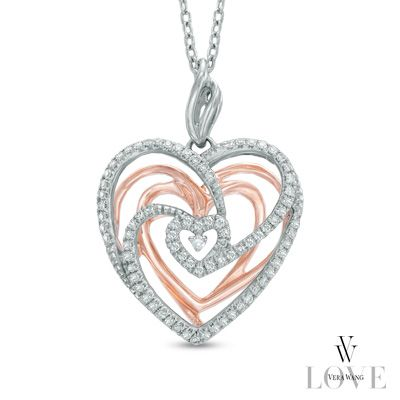 Zales: Vera Wang LOVE Collection 1/5 CT. T.W. Diamond Spiral Heart Pendant in Sterling Silver and 14K Rose Gold