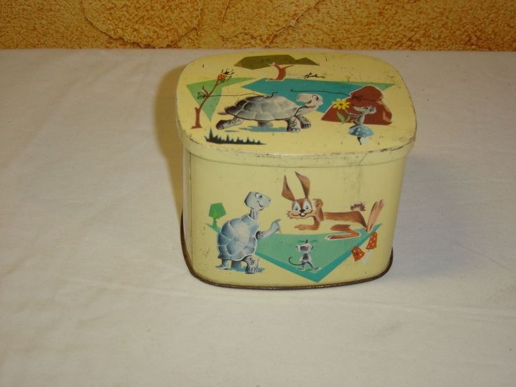 BOITE TOLE CHOCOLAT COTE D OR LIEVRE TORTUE OLD TIN BOX VINTAGE LA FONTAINE
