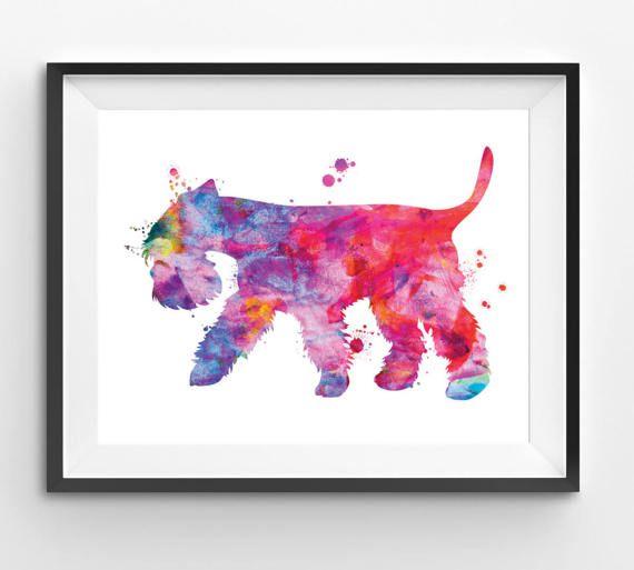 Colorful Miniature Schnauzer Watercolor Print Dog Print Dog