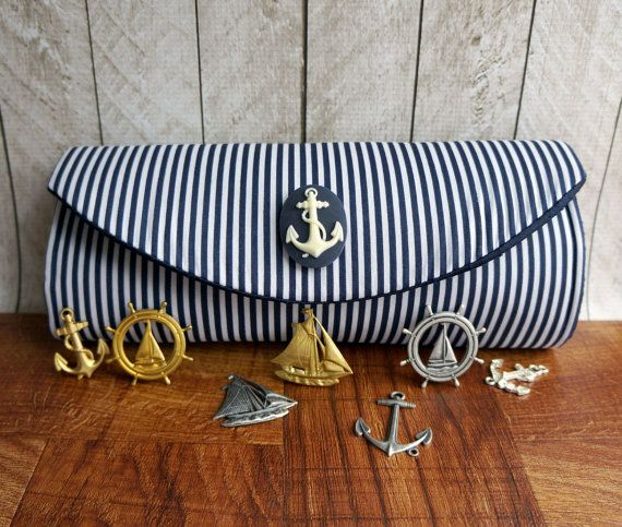Navy blue clutch bag blue and white nautical clutch by toriska