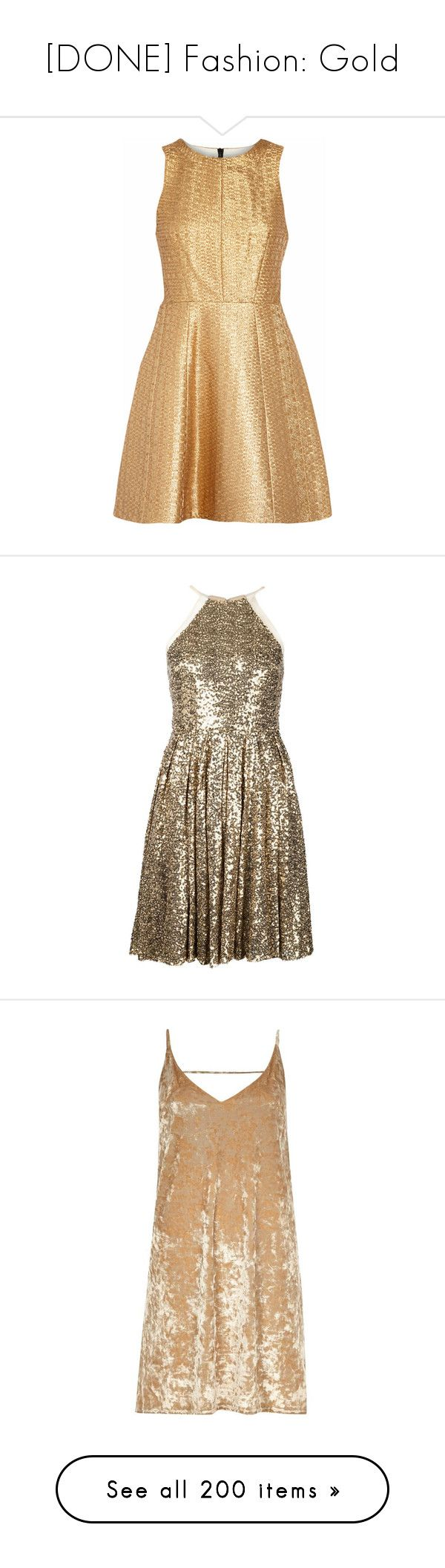 """[DONE] Fashion: Gold"" by jmn312 ❤ liked on Polyvore featuring dresses, vestidos, party dresses, short dresses, gold, short mini dress, metallic mini dress, beige short dress, zipper dress and metallic short dress"