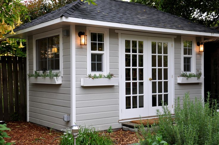 Summerwood Shed - 8 feet x 14 feet - Sonoma Studio - double french doors, single  hung windows, and flower boxes. Grey with white trim.