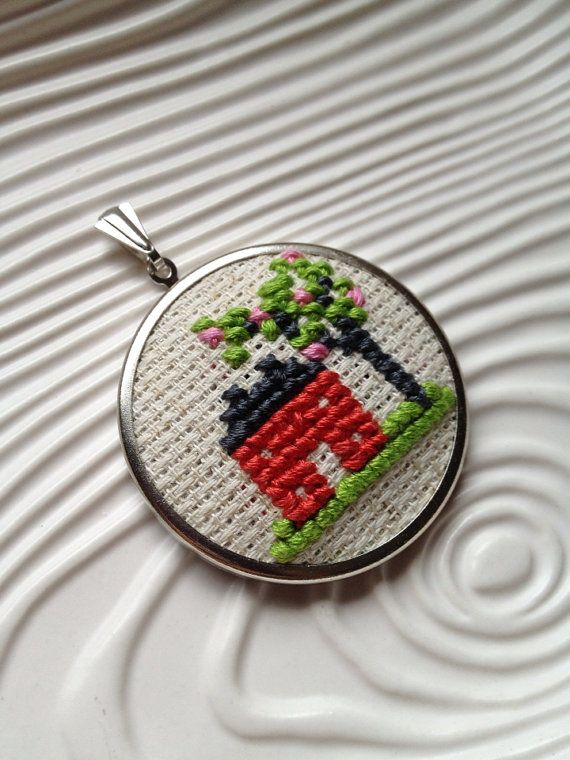 Brick House and Cherry Blossoms Cross Stitch Embroidered Pendant on Etsy, $18.00