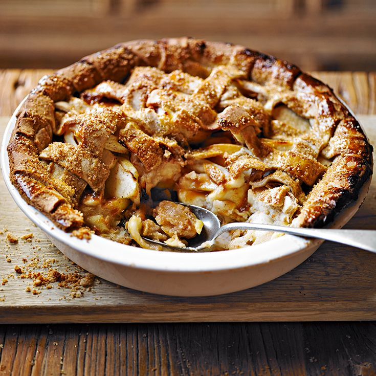 Try Martha Collison's chunky toffee and apple pie recipe with cinnamon pastry. Serve with warm custard and enjoy! Find more recipes like this on the Waitrose website.