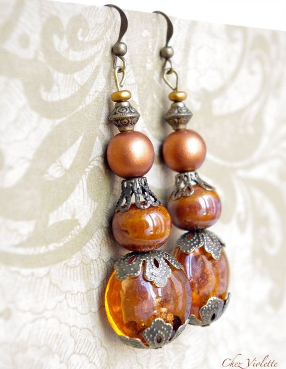 Baroque Brown earrings Rococo Victorian Marie Antoinette jewelry  French formal - 13.50€ - www.cocoflower.net