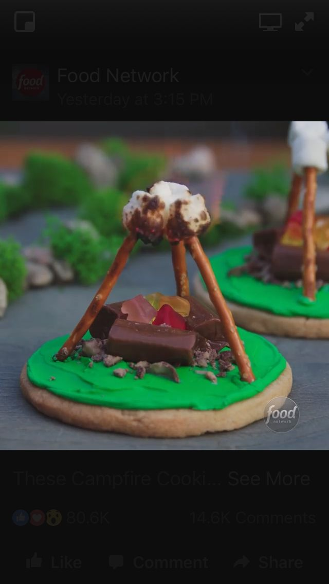 Campfire cookies!  Crushed malted milk balls, chocolate chews (or use Twix), cut up gummy bears, pretzel sticks, and mini marshmallows!  A quick lite of marshmallows, and viola!