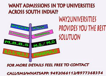 Admissions are opened in way2universities with low packages... Hurry up to get direct admissions in management/NRI quota!!!!! Engineering degrees offer the chance to specialize in many of today's most exciting and dynamic fields – with career prospects to match. Perhaps you'll study electronics engineering, and play a role in developing the micro technologies of the future. Contact information:   9492066112, 9581175511, 9962966777, 8977368354,  LAND LINE: 040-66443636.