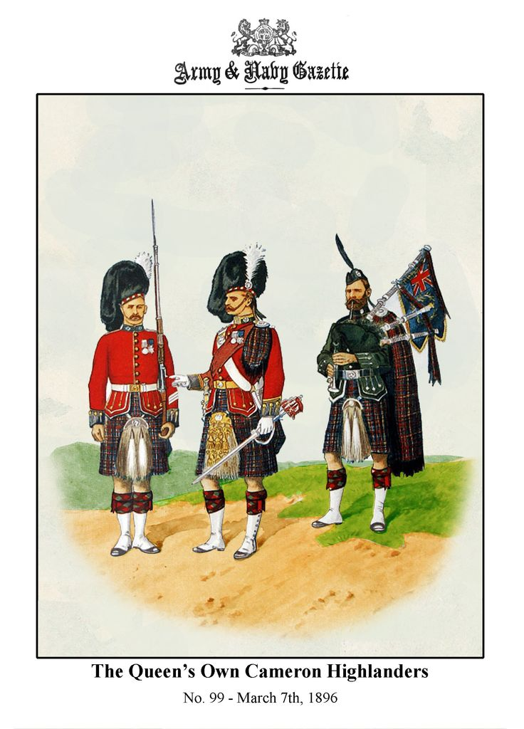 British; The Queen's Own Cameron Highlanders, c.1893 by R.Simkin