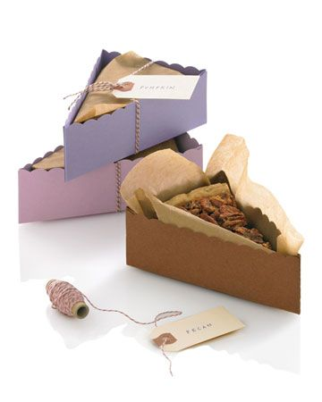 [A Slice to Go] Photo: Laura Moss    A Slice to Go  Make sure you guests leave with sweet memories by packaging the sweets up and sending them with them. Leftover dessert doubles as guest favors when packaged in boxes that are as pretty as, well, pie.    Click to get the template