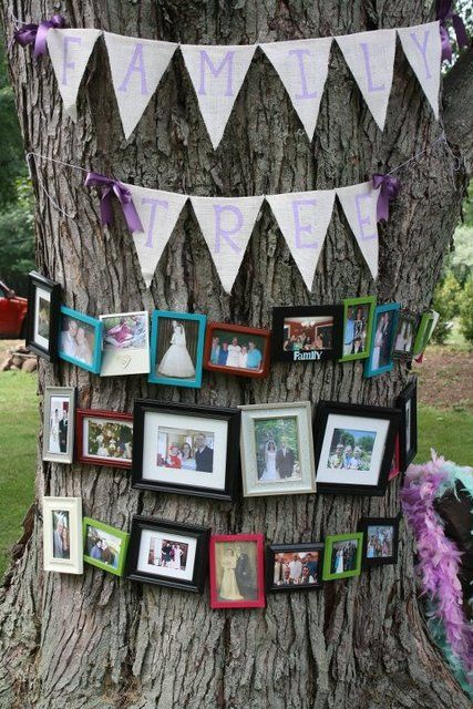 """Family """"tree"""" at an outdoor wedding/shower. So cute. Could be heavy on wedding photos but doesn't have to be..."""