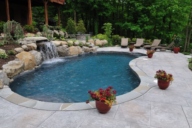 Kidney Shaped Pool With Waterfall Would Love To Have This Someday Backyard Pool Landscaping Inground Pool Designs Cool Swimming Pools