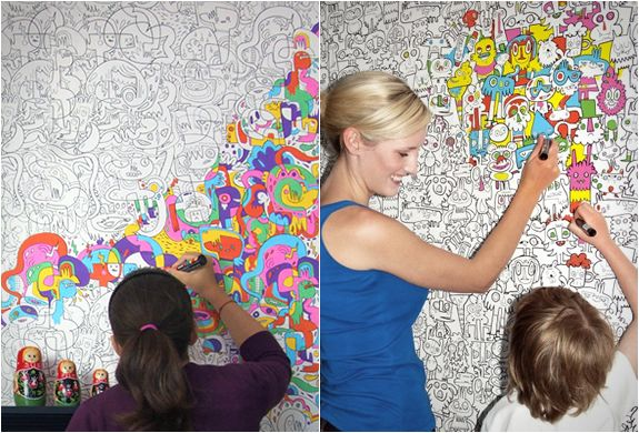 COLOR-IN WALLPAPER by Burgerplex you can color in the artwork using marker pens, felt tips or paint.