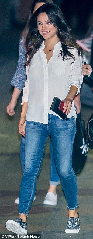 Mila Kunis flashes ring on wedding finger AGAIN before TV appearance #dailymail
