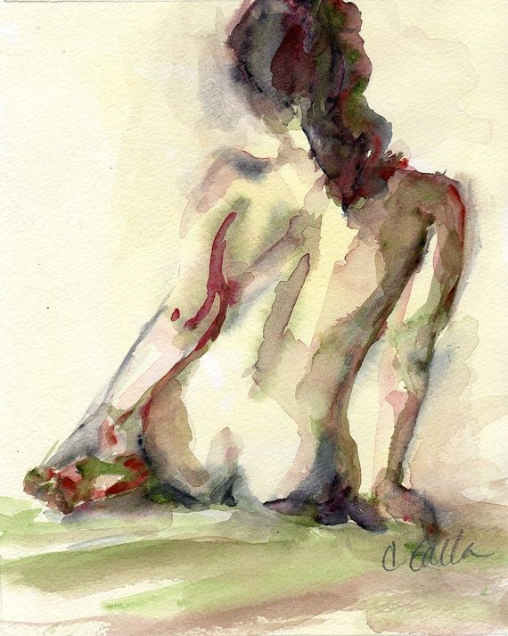 Nude Figure Yellows and Dark Reds  Woman Giclee Print From Original Watercolor Painting 8 x 10 on Etsy, $19.94 AUD