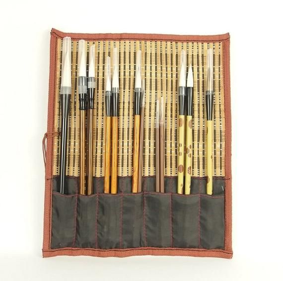 Chinese Calligraphy Goat Hair Brushes Set Of 3 Chinese Shufa