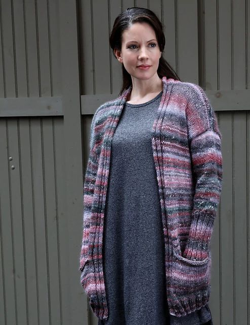 Simple Duster Cardigan Knitting Pattern uses Plymouth