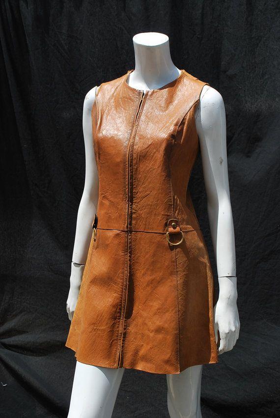 Vintage 70er Leder Zip Front Cognac farbigen Vintage Umb Weltraumzeitalter Dress Kreationen Jeanne Bernard CJB made in France Gr. M von Thekaliman