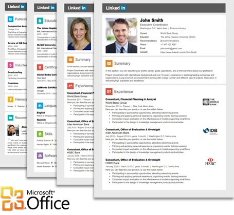Linkedin Resume Template for Microsoft Word Office