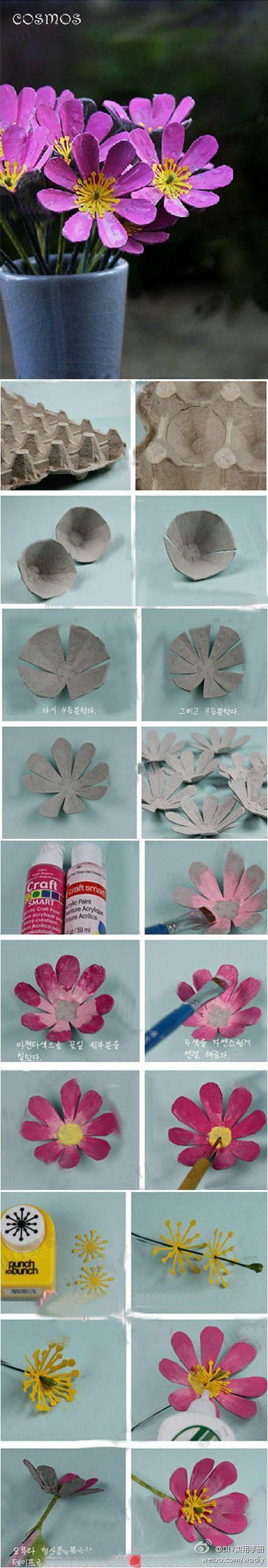 Blumen mit Eierkartons / Flores con hueveras